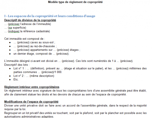 Mod le de r glement de copropri t for Definition du reglement interieur