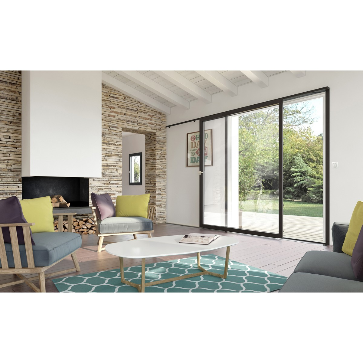 baie coulissante murale alu m3d s l 39 alternative moderne au. Black Bedroom Furniture Sets. Home Design Ideas