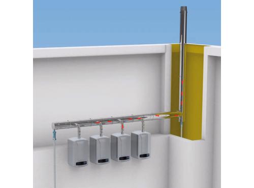Chaudières gaz installées en ligne ou dos à dos Système Cascade Poujoulat