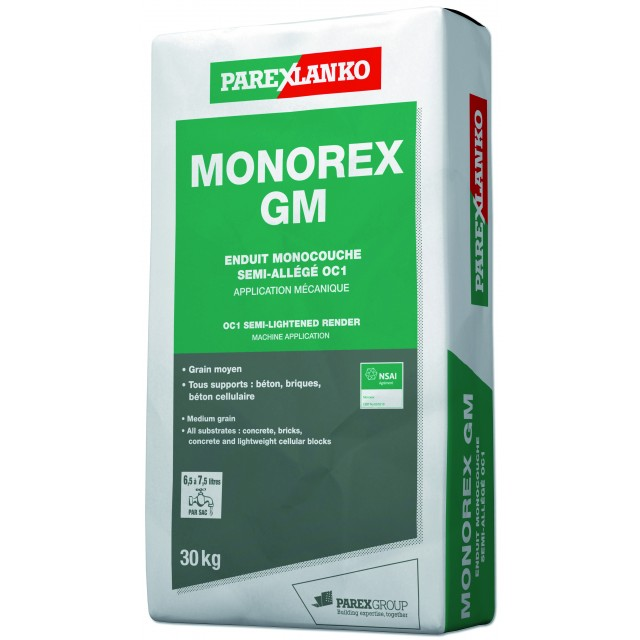 Enduit MONOCOUCHE semi-allégé grain moyen Monorex GM Parexlanko