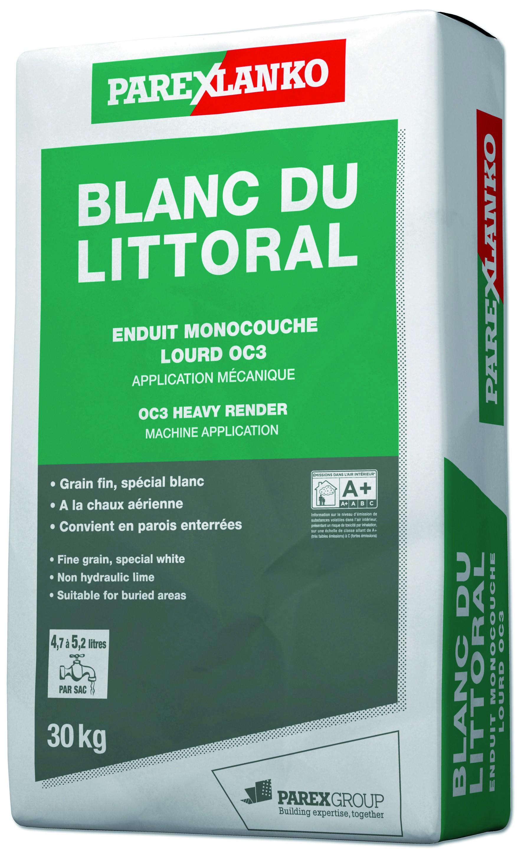 Enduit monocouche lourd grain fin spécial blanc Blanc Du Littoral Parexlanko