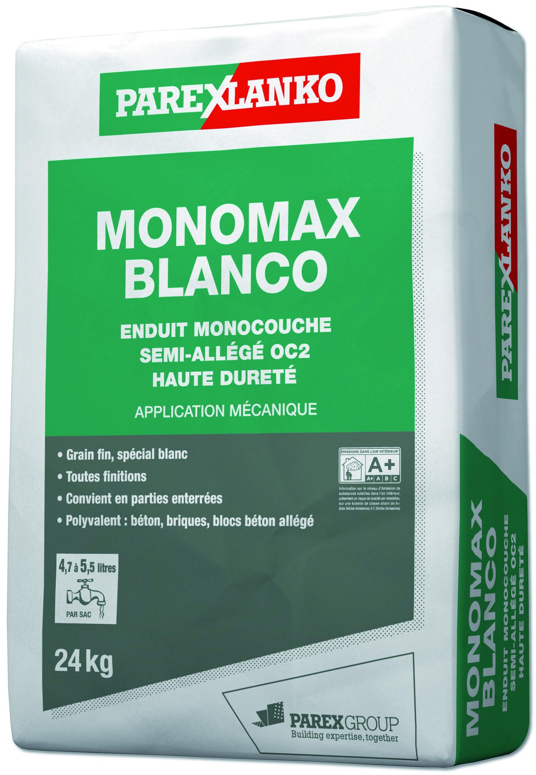 Enduit monocouche semi-allégé grain fin spécial blanc Monomax Blanco Parexlanko