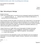 Modèle de lettre de demande de vider un parking pour nettoyage