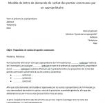 Lettre de demande de rachat de parties communes par un copropriétaire