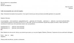 Lettre de demande d'inscription d'un sujet à l'ordre du jour de l'AG de copropriété