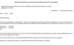 Modèle de demande de convocation d'une Assemblée Générale de copropriétaires