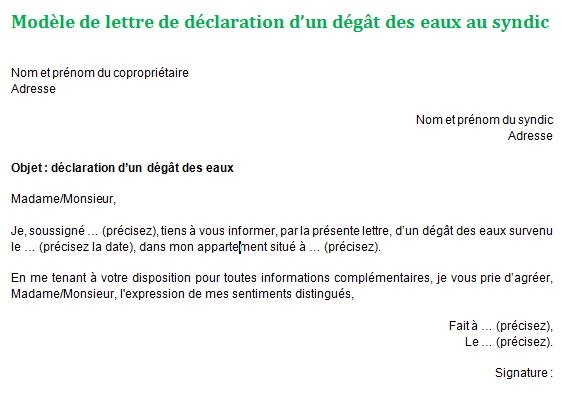 modele de lettre degat des eaux gratuit Déclaration de dégât des eaux au syndic : mettre et explication modele de lettre degat des eaux gratuit