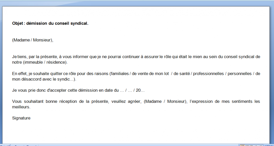 lettre de résiliation d un syndicat Lettre de démission du conseil syndical lettre de résiliation d un syndicat