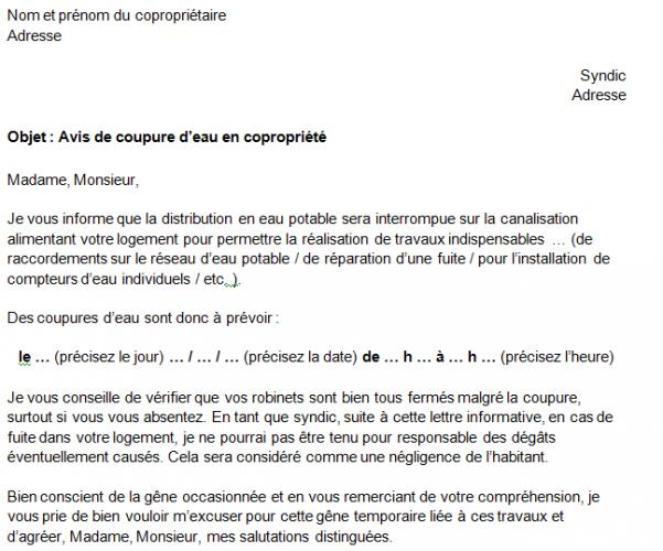 Coupure D Eau En Copropriete Modele De Lettre Et Explication