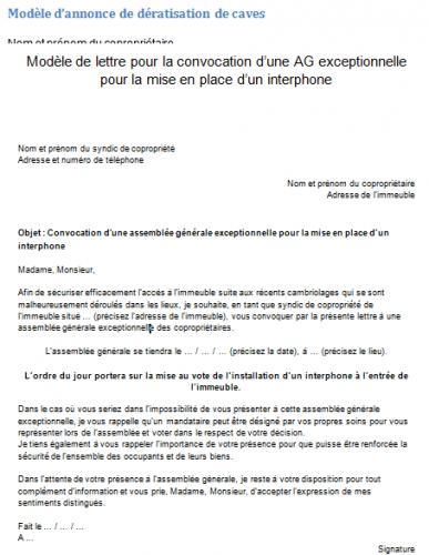 Ag pour mise en place d 39 un interphone mod le de convocation et explications - Assurer un immeuble en copropriete ...