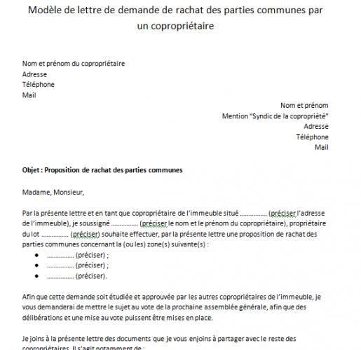 Lettre De Demande De Rachat De Parties Communes Par Un