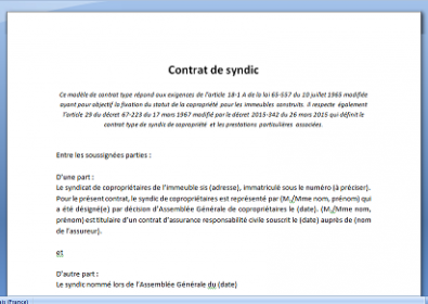 Contrat type de syndic